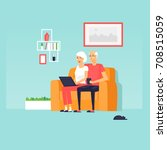 pensioners are sitting on the... | Shutterstock .eps vector #708515059