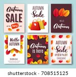 autumn card set with fall... | Shutterstock .eps vector #708515125