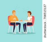 guy and girl drink hot drinks.... | Shutterstock .eps vector #708515137