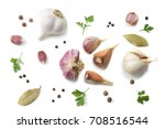 garlic and spices isolated on... | Shutterstock . vector #708516544