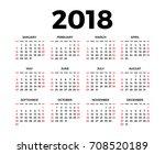 calendar for 2018 on white... | Shutterstock . vector #708520189