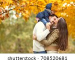 family playing in autumn park... | Shutterstock . vector #708520681