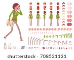 teenager girl in a hoodie and... | Shutterstock .eps vector #708521131