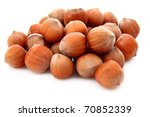 Hazelnuts Isolated On White...