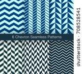 set of 6 chevron seamless...   Shutterstock .eps vector #708528541
