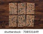 crunchy crispbread  on a wooden ...   Shutterstock . vector #708531649