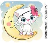 Cute Cartoon White Kitten Whith ...