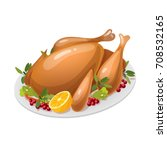 baked turkey for thanksgiving... | Shutterstock .eps vector #708532165