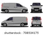 realistic cargo van. front view ... | Shutterstock .eps vector #708534175