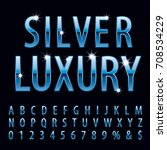 vector set of shiny blue metal... | Shutterstock .eps vector #708534229