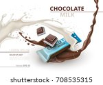 chocolate bar with milk... | Shutterstock .eps vector #708535315