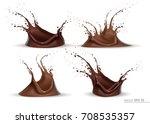 realistic chocolate splash set... | Shutterstock .eps vector #708535357