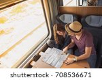 travelers planning a trip on a... | Shutterstock . vector #708536671