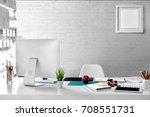stylish workspace with desktop... | Shutterstock . vector #708551731