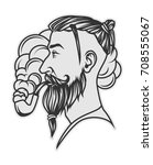 hipster with beard and undercut ... | Shutterstock . vector #708555067