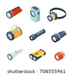 set of flashlights or torches... | Shutterstock .eps vector #708555961