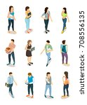 set of male and female students ... | Shutterstock .eps vector #708556135