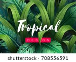bright tropical background with ... | Shutterstock .eps vector #708556591