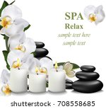 spa relax card candles and... | Shutterstock .eps vector #708558685