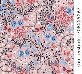 vector floral seamless pattern... | Shutterstock .eps vector #708559267