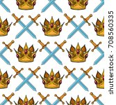 seamless pattern with crown and ... | Shutterstock .eps vector #708560335