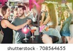 female with man are dancing in... | Shutterstock . vector #708564655