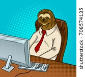 sloth animal office worker pop... | Shutterstock .eps vector #708574135