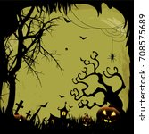 halloween party flyer with... | Shutterstock .eps vector #708575689