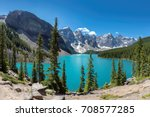 Moraine Lake is a glacially-fed lake in Banff National Park Alberta, Canada