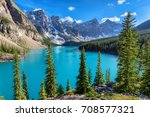 moraine lake  rocky mountains ... | Shutterstock . vector #708577321