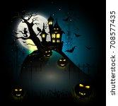 halloween party pumpkin vector... | Shutterstock .eps vector #708577435