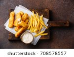 fish fingers and chips british... | Shutterstock . vector #708578557