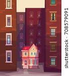cartoon style vector house or...   Shutterstock .eps vector #708579091
