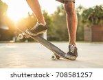 closeup of man legs with... | Shutterstock . vector #708581257