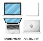 minimal laptop isolated on... | Shutterstock .eps vector #708582649