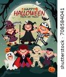 vintage halloween poster design ... | Shutterstock .eps vector #708584041