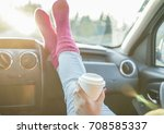 young drinking coffee take away ... | Shutterstock . vector #708585337