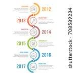 vertical timeline infographics... | Shutterstock .eps vector #708589234