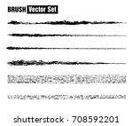 set of black paint  ink brush...   Shutterstock .eps vector #708592201