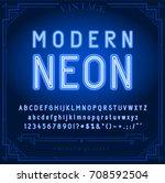 bright neon alphabet letters ... | Shutterstock .eps vector #708592504