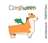 happy welsh corgi breed dog ... | Shutterstock .eps vector #708592561