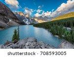 Majestic mountain lake in Canadian Rockies..