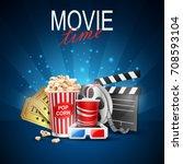 movie design above background... | Shutterstock .eps vector #708593104