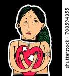 sad girl with broken heart | Shutterstock .eps vector #708594355