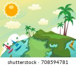 colorful illustration featuring ... | Shutterstock .eps vector #708594781