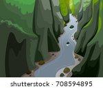 colorful landscape illustration ... | Shutterstock .eps vector #708594895
