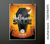 halloween sale vector... | Shutterstock .eps vector #708598495