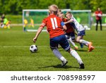 football soccer match for... | Shutterstock . vector #708598597