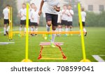 boy soccer player in training.... | Shutterstock . vector #708599041