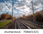 railway tracks in a rural... | Shutterstock . vector #708601321